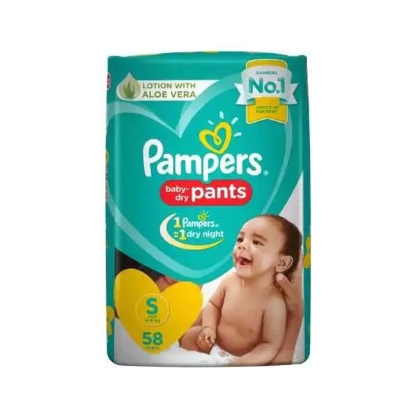 Pampers Baby Dry Pants Diaper Pant S 4-8 kg 58Pants পাম্পার্স শিশুর শুকনো প্যান্টগুলি ডায়াপার প্যান্ট এস 4-8 কেজি 58 প্যান্ট